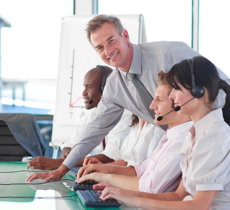 Business manager in a call centre Stock Photo - 10110845
