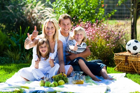 Happy family having a picnic with thumbs up photo
