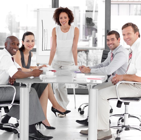 Female business woman giving a presentation Stock Photo - 10096054