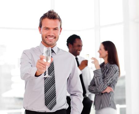 businesswear: Businessman celebrating a success