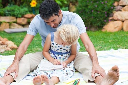 Father and daughter writing Stock Photo - 10070490
