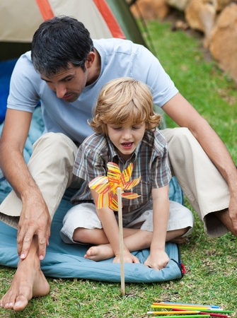 Father and son camping Stock Photo - 10070451