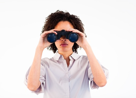 Portrait of a African businesswoman using binoculars Stock Photo - 10093833