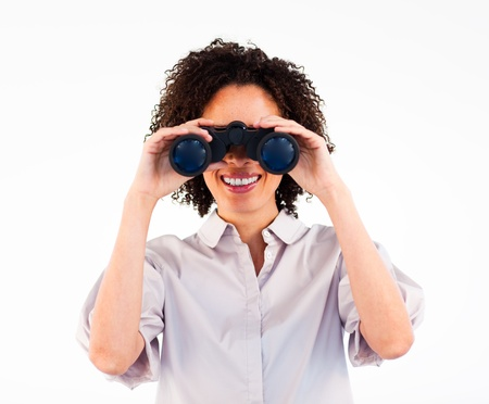 Close-up of Afro-American businesswoman holding binoculars  Stock Photo - 10095828