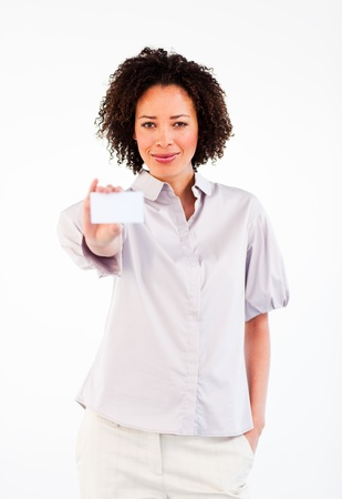Attractive businesswoman showing white card  photo
