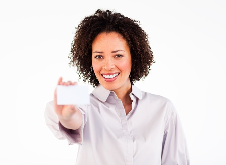 Friendly businesswoman showing white businesscard photo