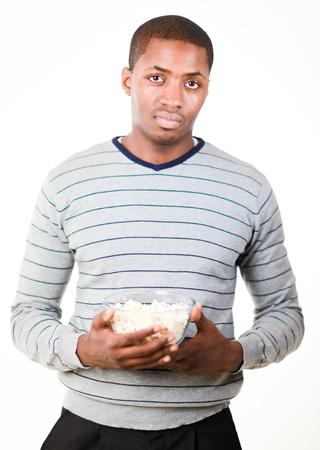 Man holding pop corn photo