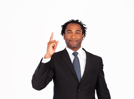 Afro-american businessman pointing upwards  photo