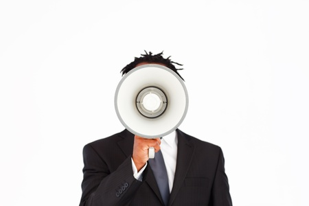 Business announcement through megaphone  Stock Photo - 10110588