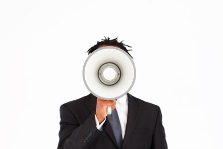 Business announcement through megaphone Stock Photo - 10110588