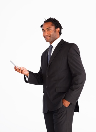Young businessman sending text message photo