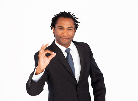 Portrait of businessman showing okay sign  photo