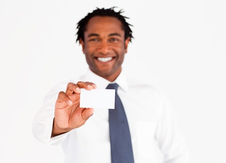Afro-american businessman showing his card, focus on fingers and card  photo