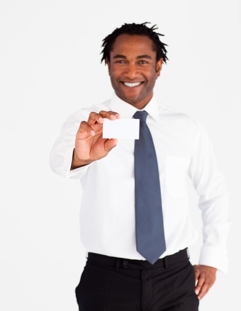 Friendly businessman showing white card  photo