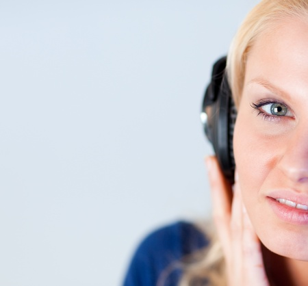 Attractive woman listening music with headphones  photo