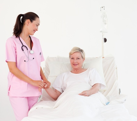 nursing assistant: Female doctor examining a patient