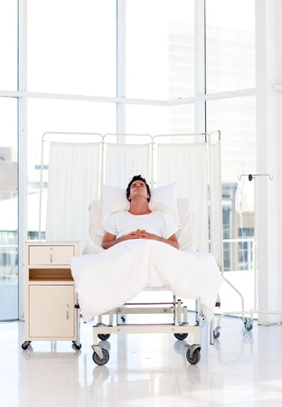 recovering: Patient recovering in a hospital Stock Photo
