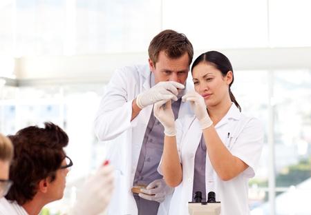 bata de laboratorio: Personas que trabajan en un laboratorio