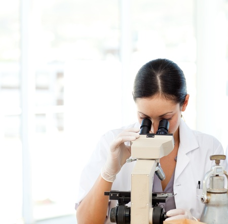 Scientists looking through a microscope photo