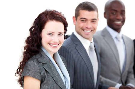 Cheerful multi-ethnic business people in a meeting  photo
