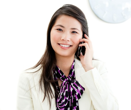 Confident businesswoman talking on phone Stock Photo - 10111136