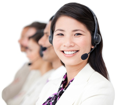 telemarketer: Diverse business team working together in a office Stock Photo