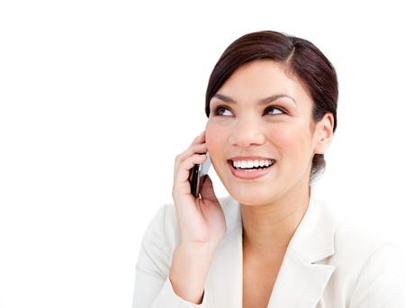 hablando por celular: Confianza empresaria hablando por teléfono Foto de archivo