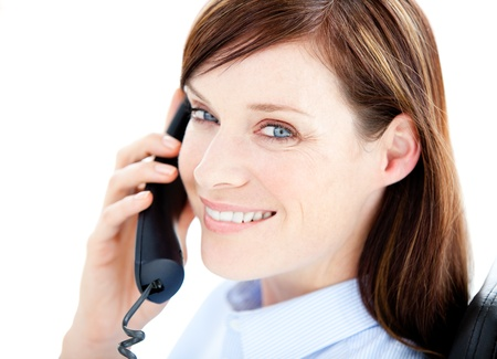 Portrait beautiful businesswoman talking on the phone Stock Photo - 10077095