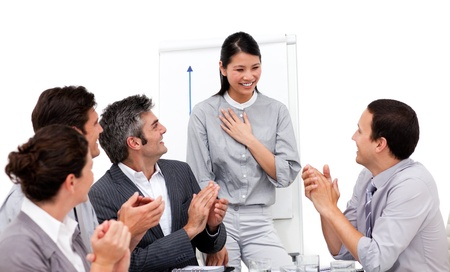 Portrait of a multi-ethnic business team sitting together Stock Photo - 10111910