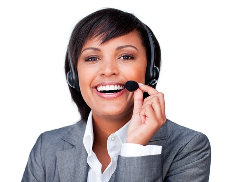 Close-up of a happy customer service agent with headset on photo