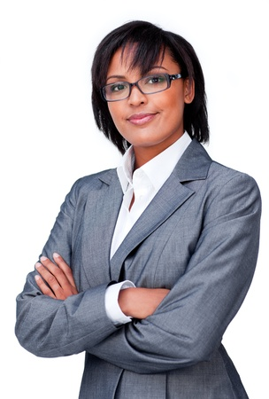 Confident businesswoman wearing glasses photo
