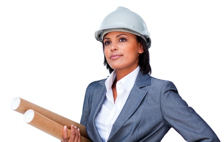 female engineer: Portrait of a confident female architect