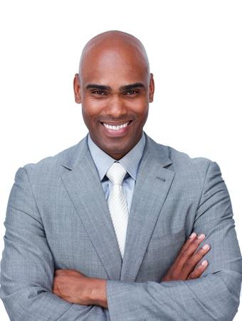 garcon africain: Confiant d'affaires afro-am�ricain, les bras crois�s