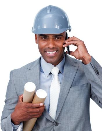 Smiling businessman looking through binoculars Stock Photo - 10077210