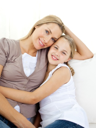 Portrait of an attentive mother and her daughter Stock Photo - 10096510