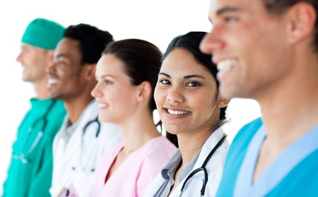 Medical people showing diversity in a line Stock Photo - 10095925
