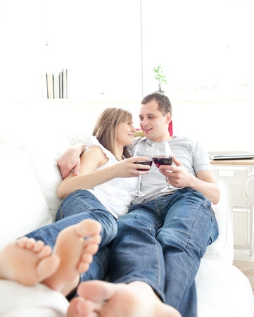 keep watch over: Adorable couple relaxing together  Stock Photo