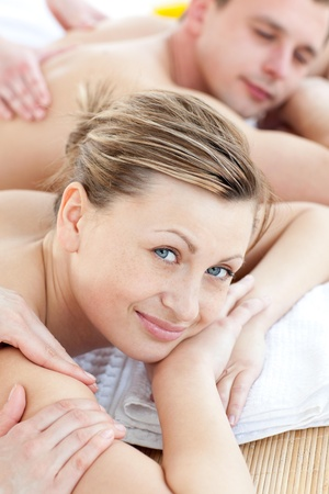 Happy couple having a massage Stock Photo - 10077460