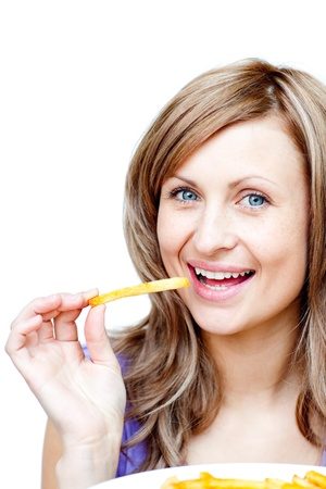 Bright woman holding chips Stock Photo