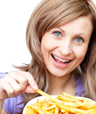 Happy woman holding chips photo