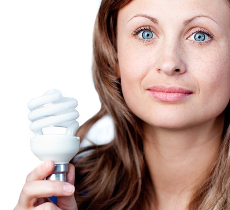 chirpy: Cute woman is holding a lightbulb