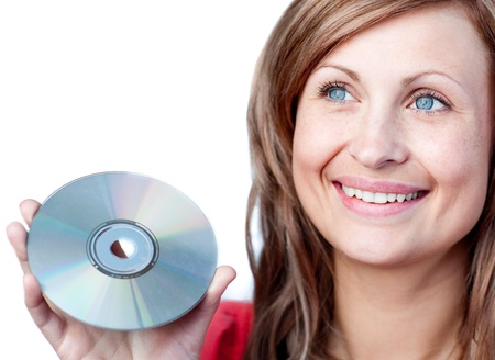 chirpy: Radiant woman holding a cd rom