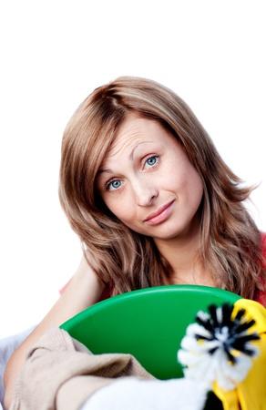 Radiant woman doing housework photo