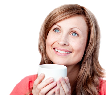 Bright woman holding a cup of coffee Stock Photo - 10112281