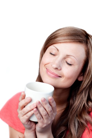 chirpy: Radiant woman holding a cup of coffee Stock Photo