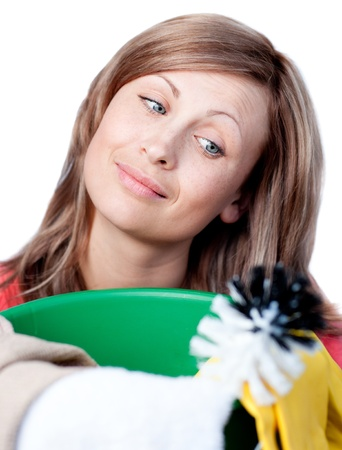 mirthful: Caucasian woman doing housework