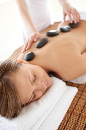 calm woman: Calm woman lying on a massage table