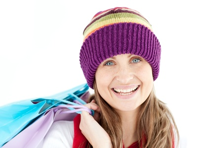 Smiling woman holding shopping bags Stock Photo - 10112873