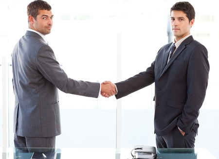 Two charismatic businessmen shaking hands standing in the office photo
