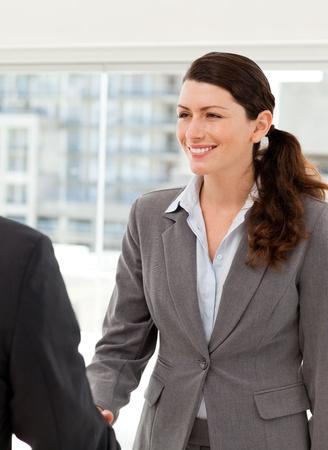 Businesswoman shaking hands with a businssman Stock Photo - 10220292